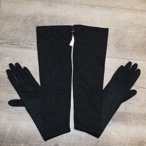 Womans long black gloves, La Crasia NWT